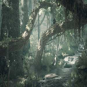 swinging through tree branches