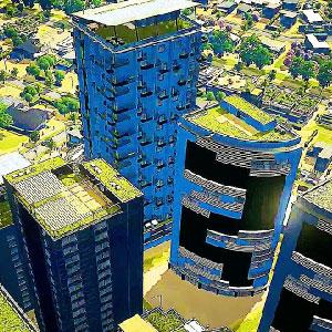 Panorámica de la ciudad de verde
