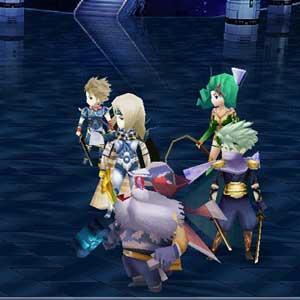 Final Fantasy personajes luchando con el enemigo