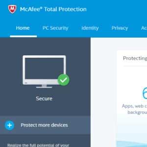 McAfee Internet Security 2019 panel de control