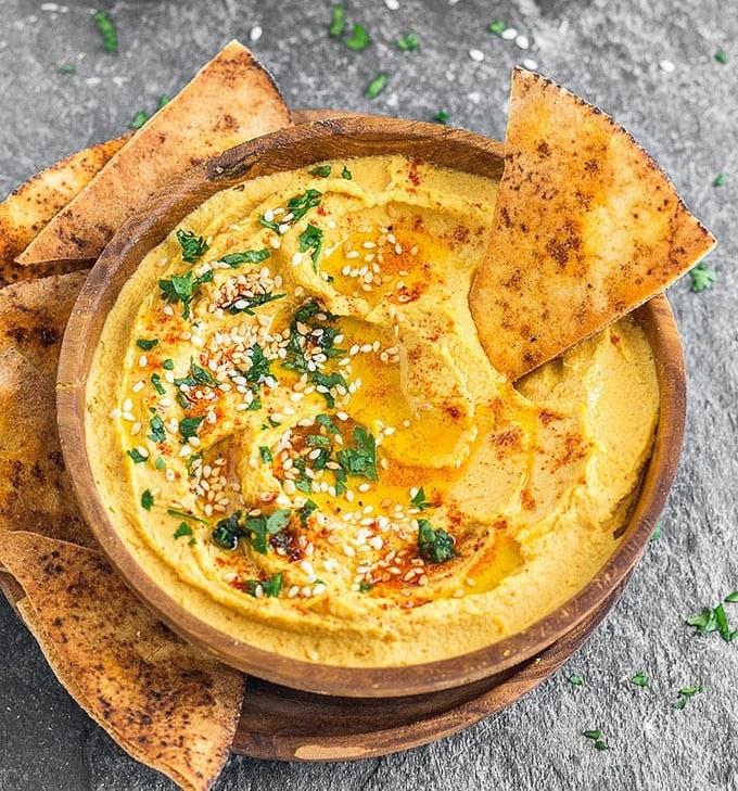 Hummus and organic pita chips